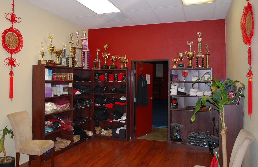 JING Institute Retail area, with our Wushu and Tai Chi trophies and clothes and Fei Yue shoes and Abacus